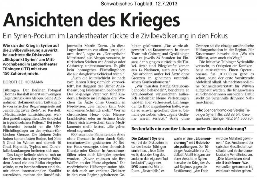 Aspects of War – Schwäbisches Tagblatt, 12.7.2013