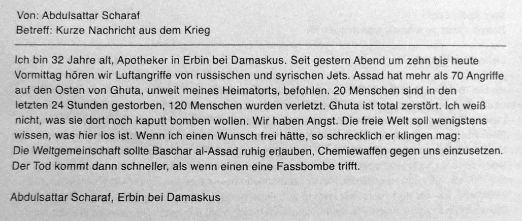 Lettre d'un habitant d'Erbin à la chancelière allemande – Die Zeit, 1.12.2016