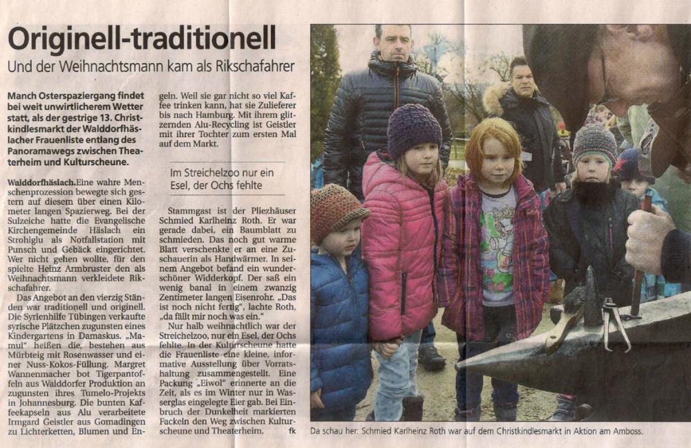 Tübinger Syrienhilfe au marché de Noël - Schwäbisches Tagblatt, 14.12.2015