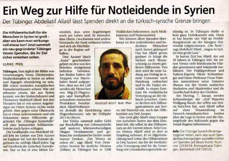 Interview on the Association's Activities – Schwäbisches Tagblatt, 4.12.2012