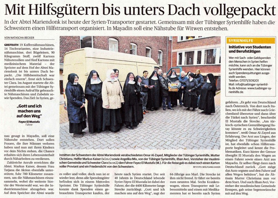 A van sent to Syria. – Rheinische Post Kempen, 2.12.2013