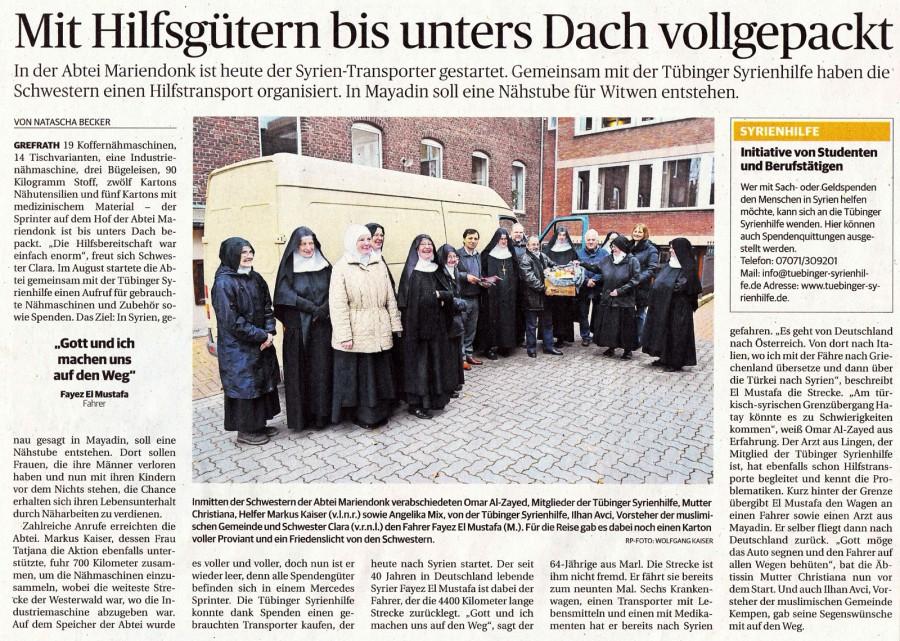 Départ d'une camionette pour la Syrie - Rheinische Post Kempen, 2.12.2013