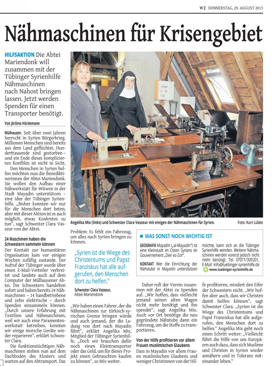 Sewing Machines for a Region in Crisis – Westdeutsche Zeitung, 29.8.2013
