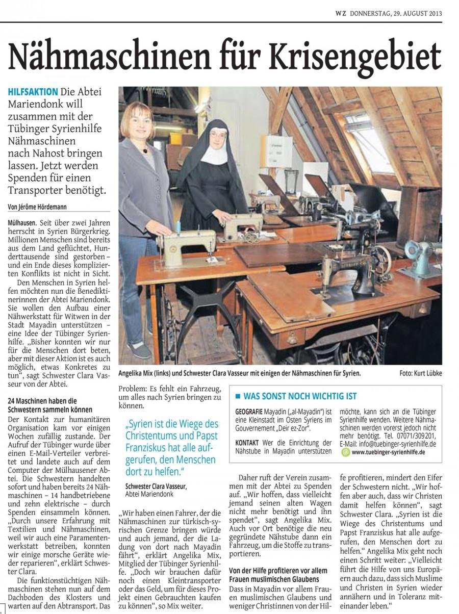 Des machines à coudre pour une région en crise - Westdeutsche Zeitung, 29.8.2013