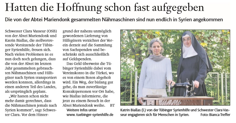 Machines à coudre arrivées en Syrie - Kirchenzeitung, Bistum Aachen, octobre 2014