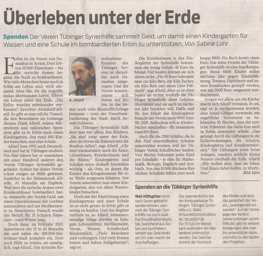 Surviving in the underground, Schwäbisches Tagblatt, 20.12.2017
