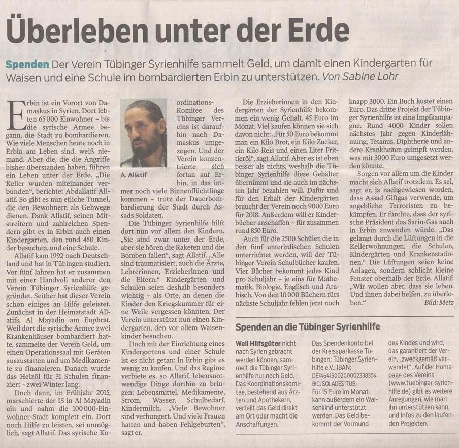 Überleben unter der Erde – Schwäbisches Tagblatt, 20.12.2017
